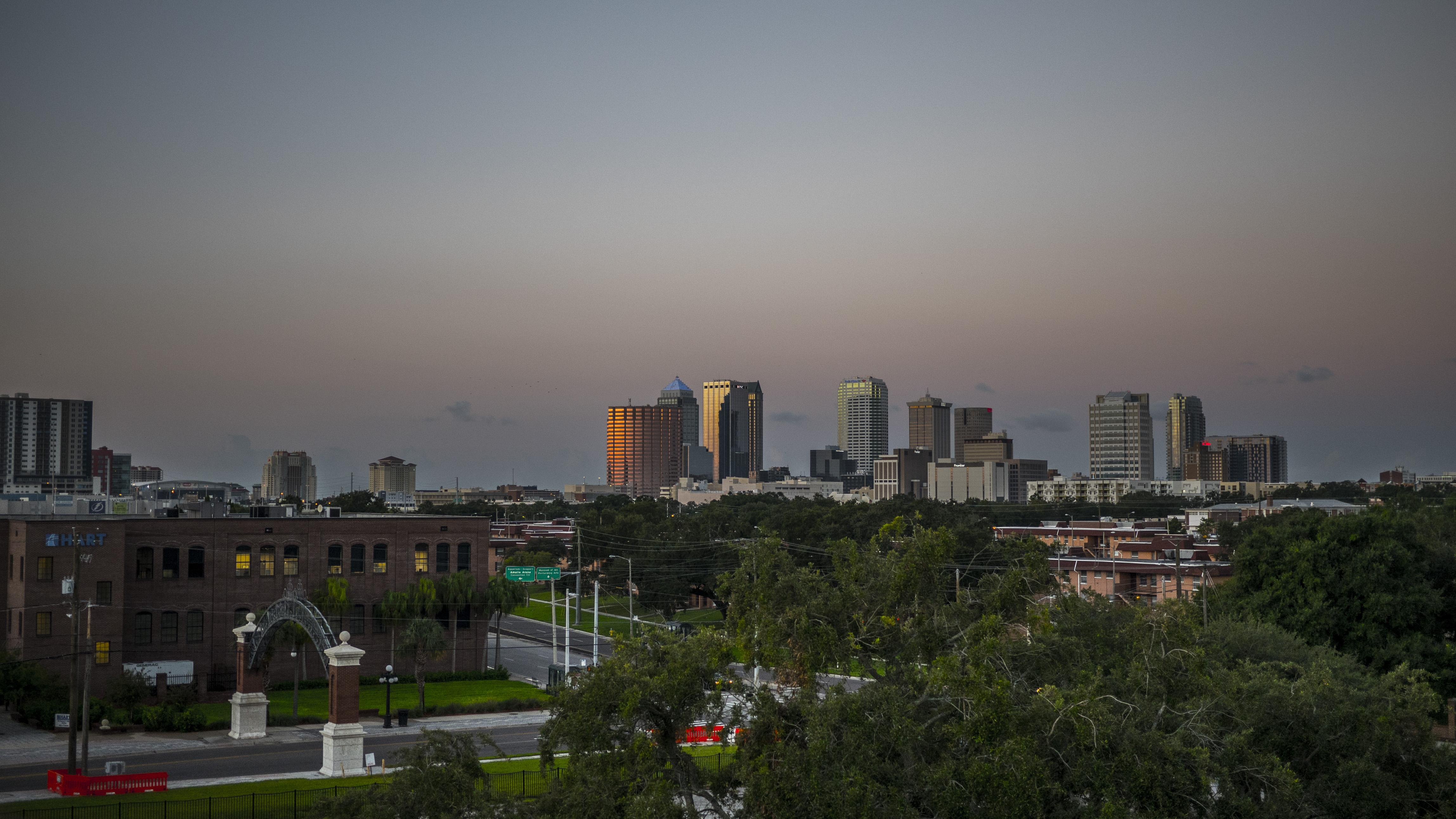 View of Ybor' City's Gate looking out to the Tampa Skyline with Channelside and Amelie Arena in the distance