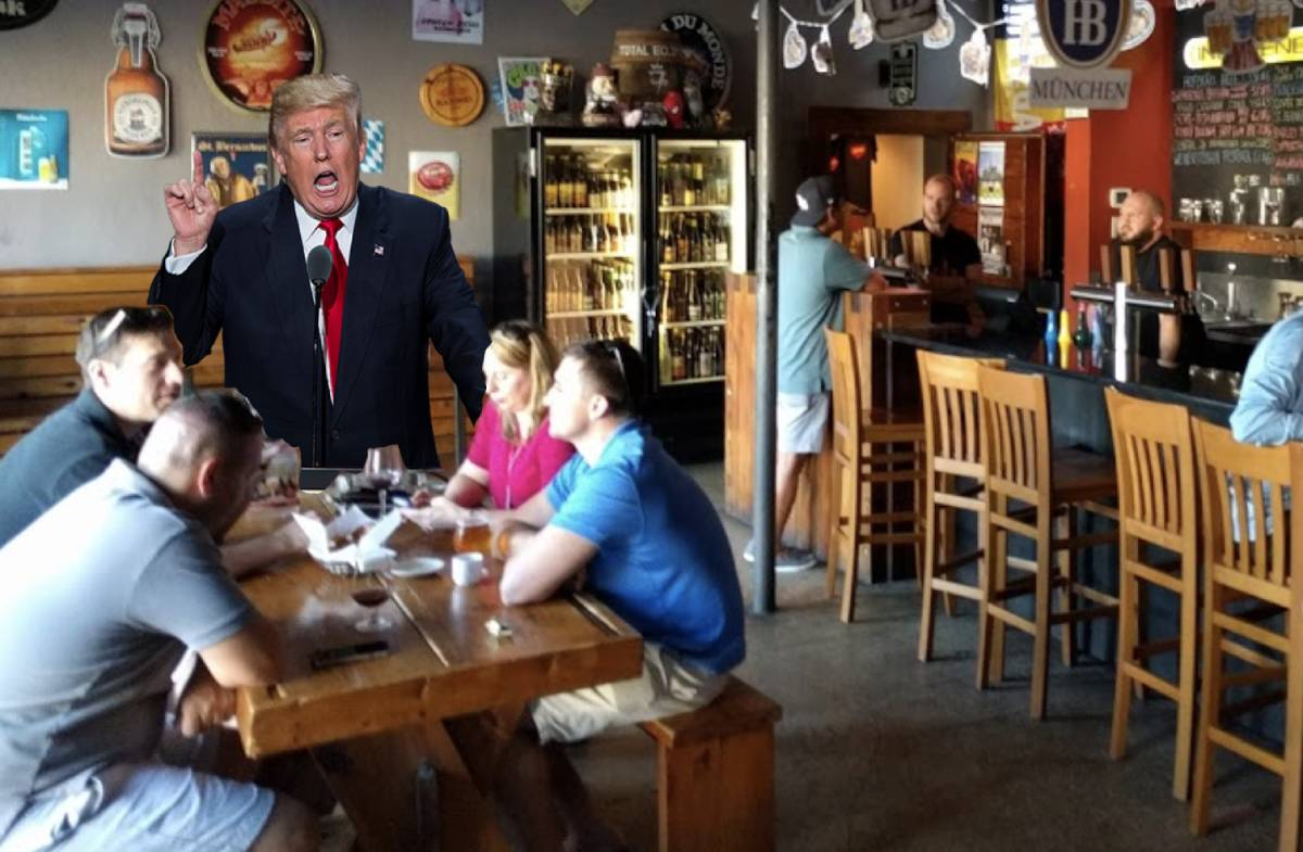 Donald Trump performing state of the union address at Seminole Height's Independent Bar and Cafe