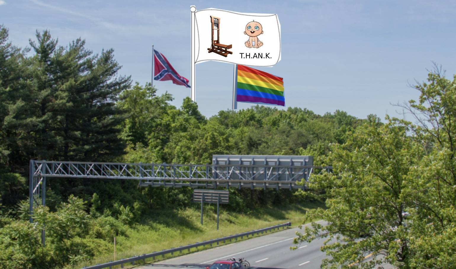 Giant hate group flags on highway