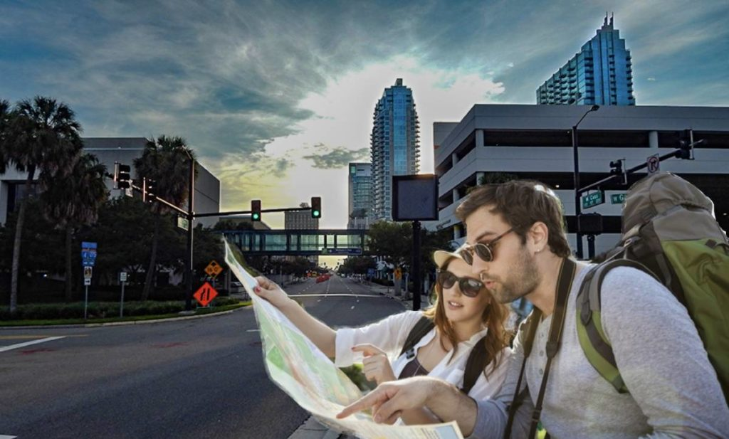 Couple searches for Hamilton Tickets in Downtown Tampa