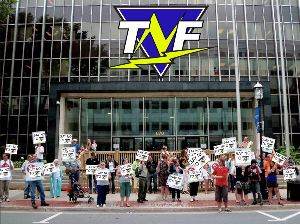 Hundreds of Protestors gathered outside of TNF headquarters to protest them